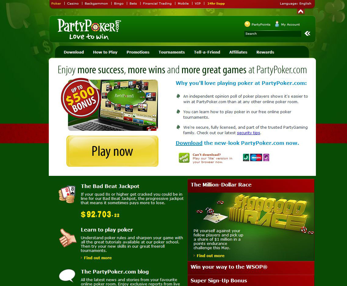 online casino party poker